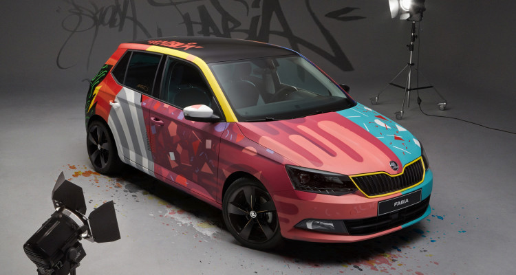 So sieht der künstlerische Skoda Fabia III Street Art aus