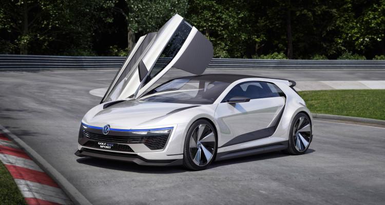 Flügeltüren ahoi: Der VW Golf GTE Sport ist schon als Studie ein Hingucker.