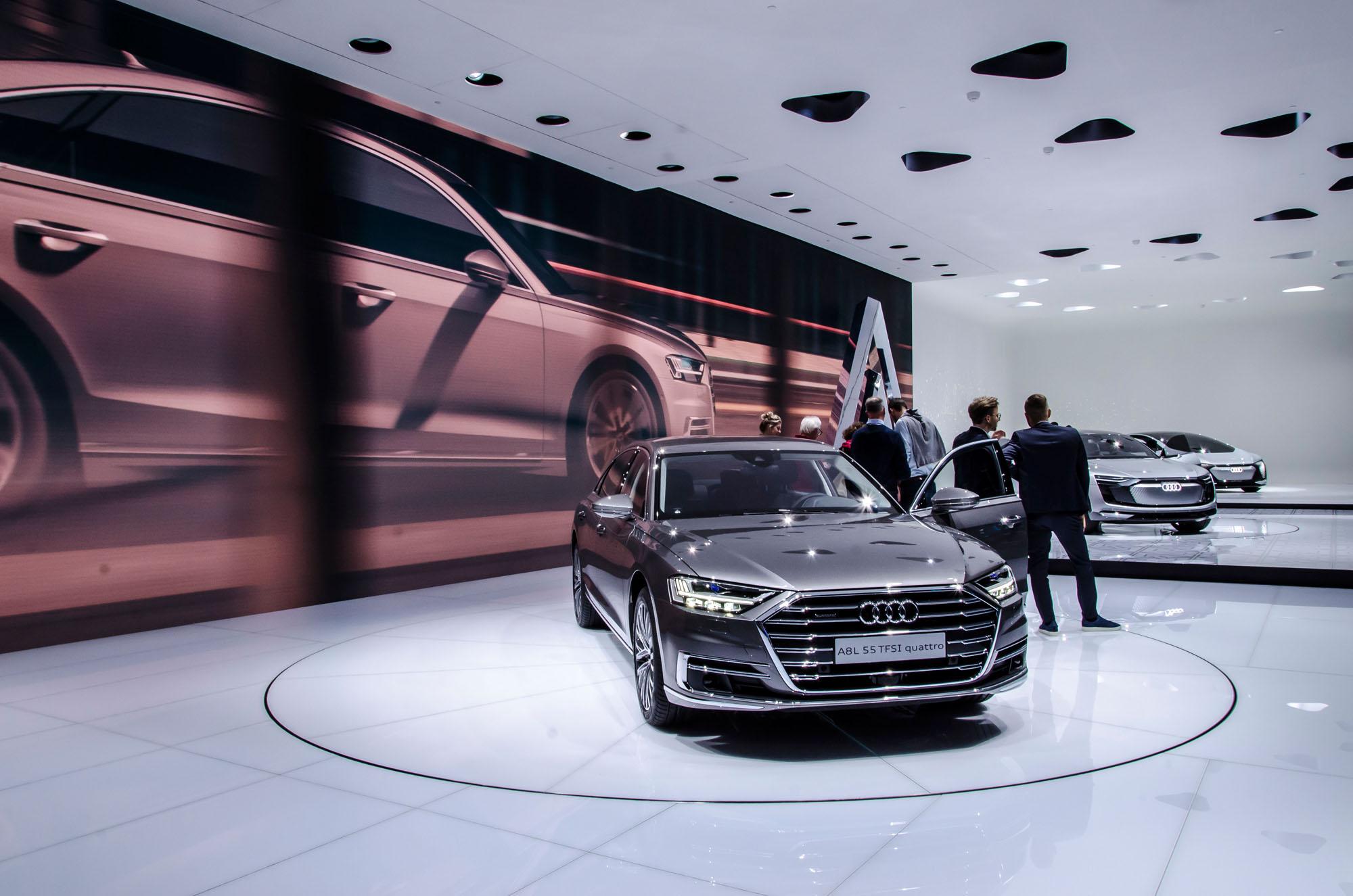 Luxusliner ohne Serientuning: Der nagelneue Audi A8 auf der IAA 2017.